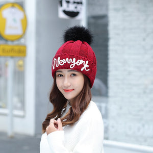2020 Embroidery Letter Beanies Women Winter Hat Girl Fashion Knitted Warm Hat Black Red Hip-hop Skullies Bonnet
