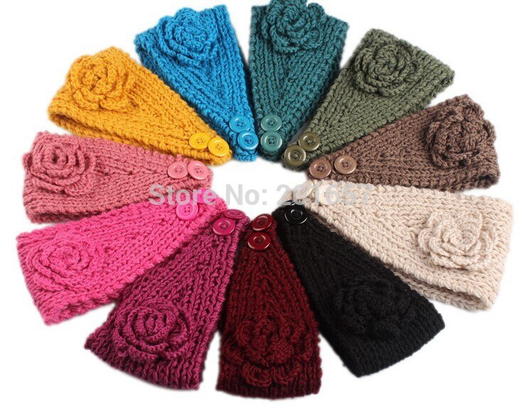 2020 Europe style autu and winter yarn handmade knitted  flower wide headband warm hat pretty hairbands