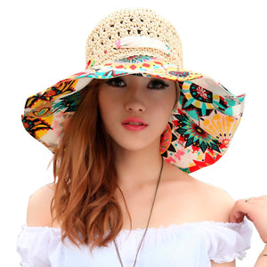2018 Fashion Design Flower Foldable Brimmed Sun Hat Summer Hollow Straw Hats  for Women UV Protection f0ad98c7439c