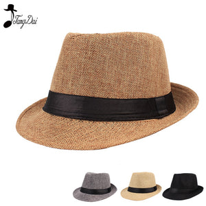 55bc4ec5e55a6 2018 Fashion Jazz Hat Straw Hat Men Women Summer Panama Hats Fedora Ladies  Fashionable British Style Casual