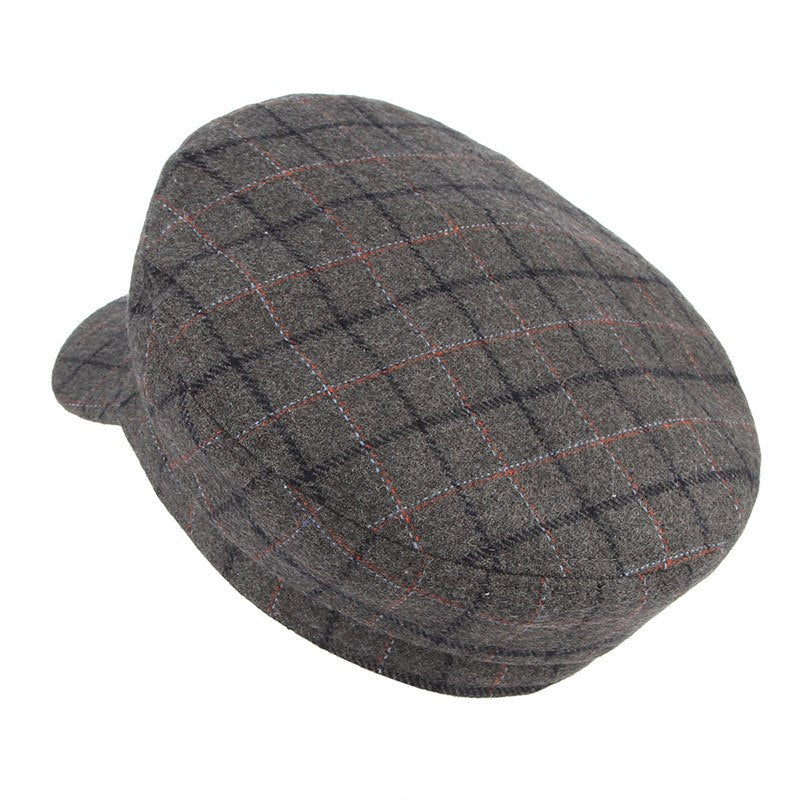2018 Fashion Unisex Big Square Plaid Berets Autu Winter Keep Warm Wo Blend Newsboy Hat Men Women Casual Peak Cap Sailor Hat