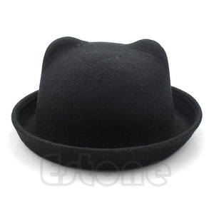 2020 Fashion Unisex Wo Cat Ears Hat Parent-Child Women Fedora Bowler Hats Ear Cap Derby Cat 4 Colors Hot Sale