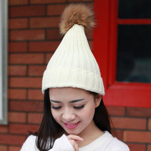 2020 Fashion Women Autumn Winter Threaded White Knitted Cap Beanie Fur Pom Bobble Hats Crochet Ski Black Hairball Cap