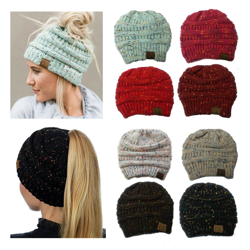 dad925e680b24c 2018 Fashion Women's Girl Stretch Knited Hat Messy Bun Ponytail Beanies  Holey Warm Winter Hats New Trendy CC Warm Winter Hat