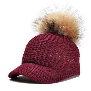 2018 Fur Ball Pompoms Warm Cap Winter Baseball Cap Women's knitting Woollen Hat