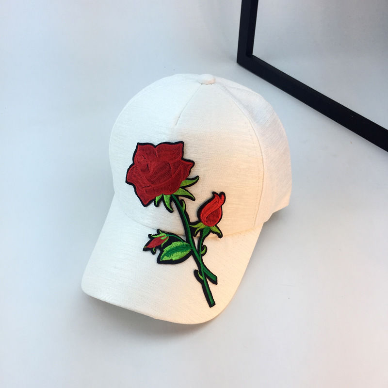 2018 Hot Casual Cute Women Baseball Ball Cap Outdoor Hat With Rose Embroidered Adjustable Solid Cap 2 Style