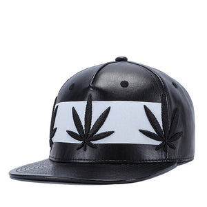 2018 Hot Style Leather Fabric Leaf Embroidery Flat Top Hat Baseball Cap Hip Hop Cap Suitable For Men And Women Black Cap