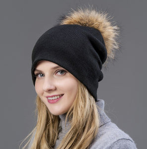 2020 Hot The wo knitted hat spring autumn and winter warm earmuf hat beautiful woman's cap with Fox fur Pompom on the hat