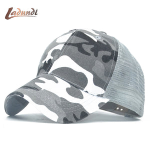 2018 LADUND Camo Mesh Baseball Cap Men Camouflage Bone Masculino Summer Hat Men Army Cap Trucker Snapback Hip Hop Dad Hats