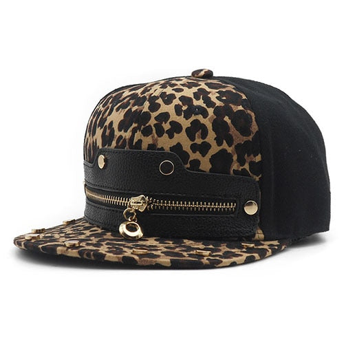 2018 Men Hip-Hop Fashion Cap Leopard Print Zipper Custom Snapback Hats Cheap Summer Outdoor Sun Hat Polo Baseball Hat Casquette