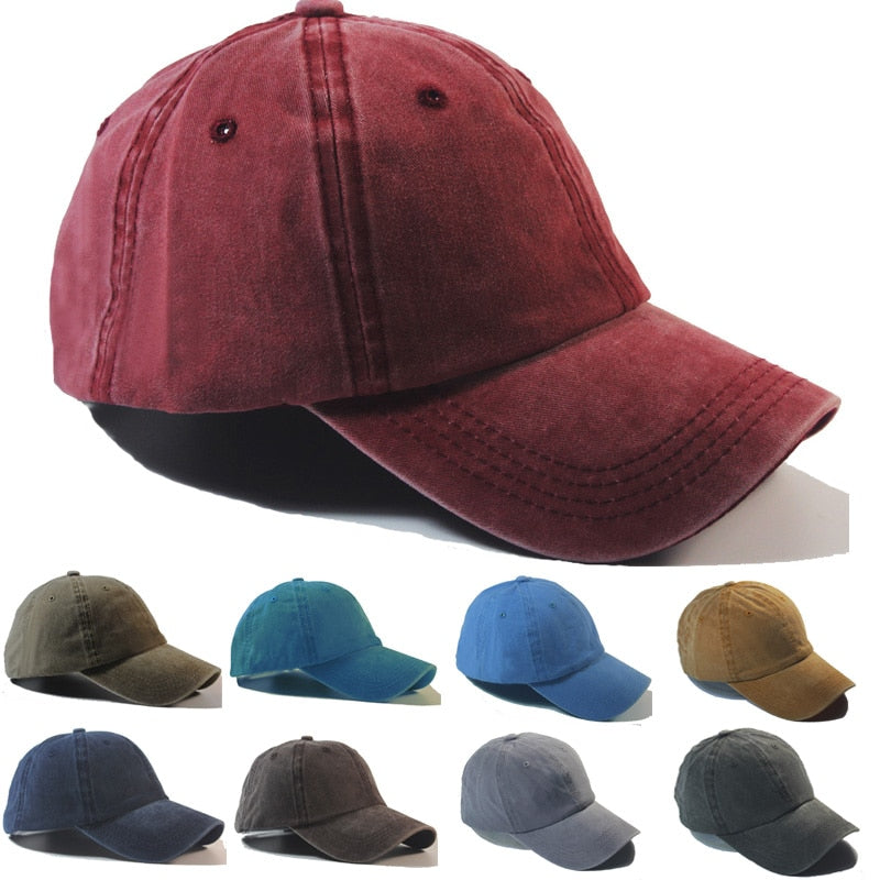 2018 Men Women Washed Cot Baseball Caps Cowboy Do Old Hip Hop Plain Casual Walking Snapback Hats Gorros Solid 10 Color Hot