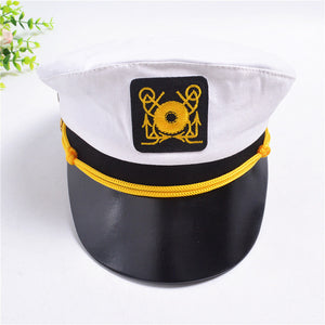 2020 Men and Women Spot Wholesale Children Flat Navy Cap ADULT WHITE Pirate Captain Seaman PU Navy Cap Militray Hats