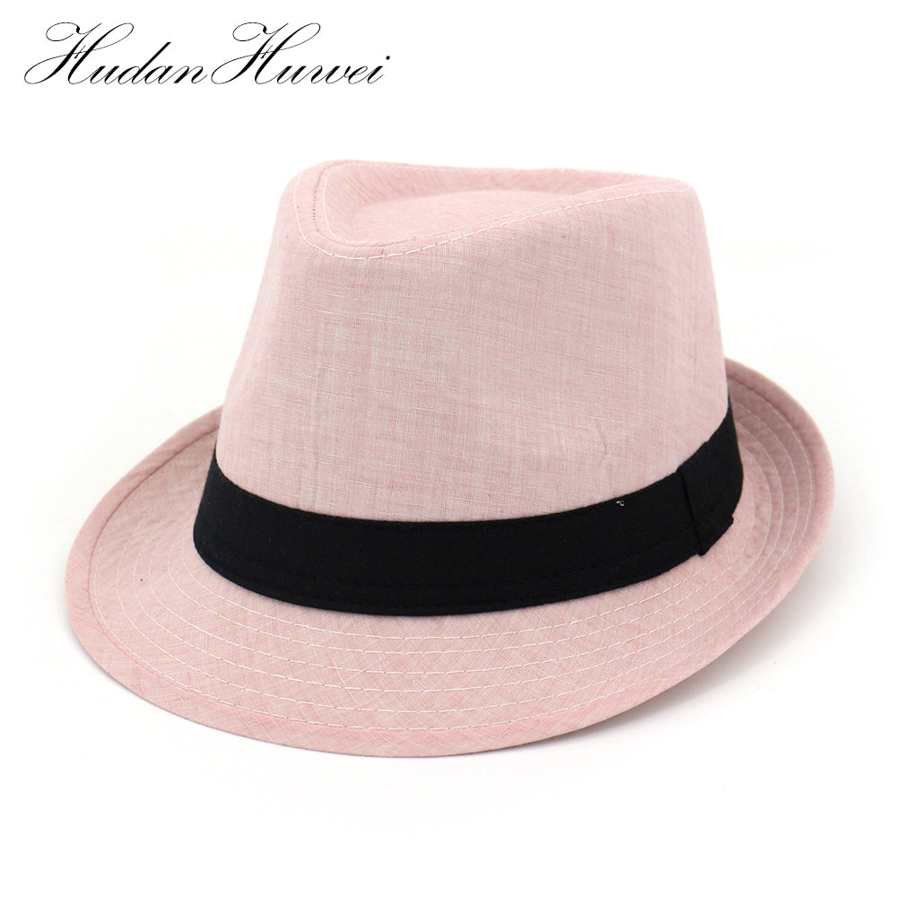 2020 Men's Jazz Cap British Style Summer Spring Fedoras Hat Black Band Bowler Cap for Men Pink Color Hat For Women XJS004