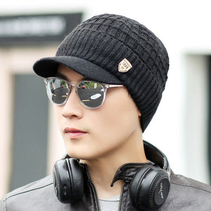 2018 Mens Beanie With Visor Winter Hats Skullies Beanies Hat Winter Beanies For Men Wo Caps Gorras Bonnet Knitted Hat Brim Cap
