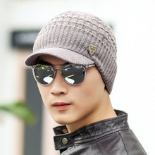 Load image into Gallery viewer, 2018 Mens Beanie With Visor Winter Hats Skullies Beanies Hat Winter Beanies For Men Wo Caps Gorras Bonnet Knitted Hat Brim Cap
