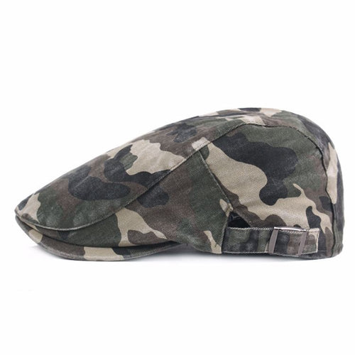 2020 NEW Solid Cotton Camouflage Beret Cap Mens Summer Creative Flat Cotton Forward Cap Newsboy Sun Hat Casual Camo Printed Hats
