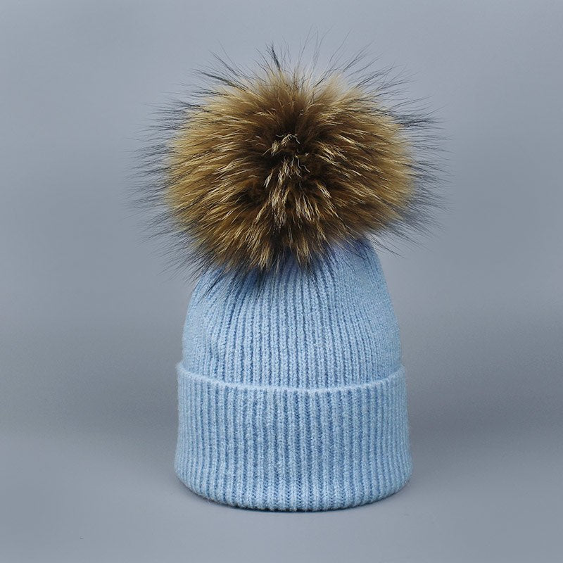 2018 Natural Raccoon Fur Pompon Hat Thick Winter for Women Cap Beanie Hats Knitted Cashmere Wo Caps Female Skullies Beanies