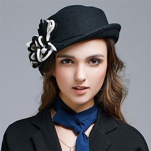 e6a8452faa3 2018 New Arrival Autu and Winter Caps Fashion Wo Hat Women Fedoras Black  D267
