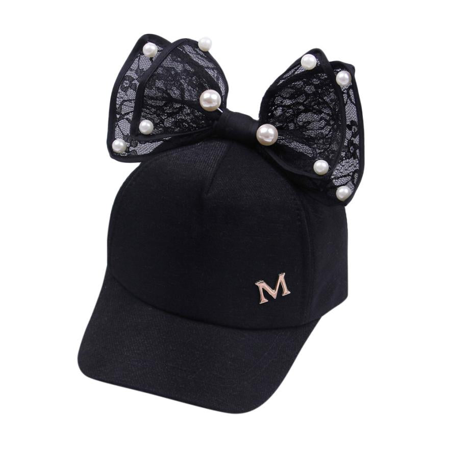 cc5badc0 ... Load image into Gallery viewer, 2018 New Arrival Spring Girls Caps  Pearl Lace Bowknot Hat ...