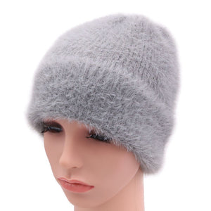 2018 New Arrival Winter Imitation Mink Fur Women Beanies Hats Knitted Lady Skullies Caps With Real Fox Fur Ball Female Warm Hat