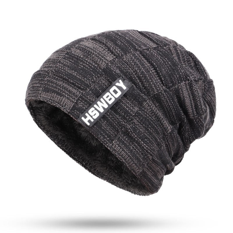 2020 New Fashion Brand Men's Striped Knit Beanie Hat Scarf High Quality Winter Plus Velvet Thicken Hedging Cap Scarves Male Bone