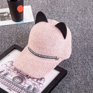 2018 New Fashion personality autumn and winter women's cat ears baseball cap wo knit baseball hat hot cute hat