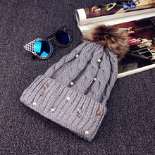 Load image into Gallery viewer, 2020 New Ladies Winter Style Pearl Wo Caps Womens Knitted Beanie Ski Hat Faux Fur Bobble Pom Wine&Black Outdoor Warm Hats Hot