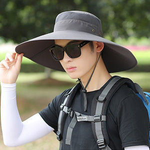 2018 New Men Solid Bucket Hat Large Wide Brim Military Hats Chin Strap  Fishing Cap Jungle 51e4641125e