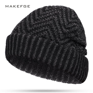 57cd8a09ba3 2018 New Men s Striped Knit Beanie Hat Winter Men Hat Wo Plus Velvet  Thicken Hedging Cap Soft Beanies Male Warm Skullies scarf