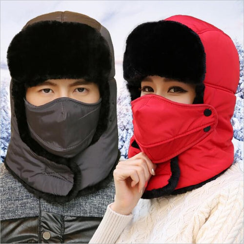 2018 New Popular Bomber Hats Winter Windproof Thermal Warm Outdoor Thick Snow Ski Winter Hat Cap Earflap for Men Women Face Mask