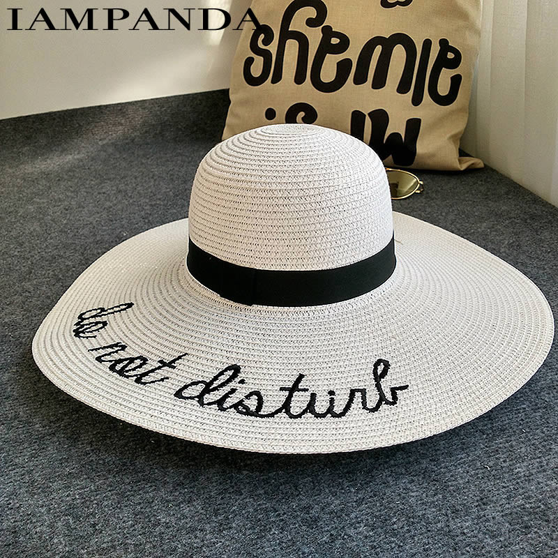 2018 New Summer Big Wide Brim Straw Hat Letter Embroidery Visor Beach Hat Foldable Sun Hats For Women Block UV Panama Hats