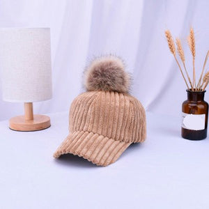 2018 New Unisex Solid Color Corduroy Winter Artificial Pompom Ball Baseball cap Adjustable Fashion Leisure Casual Snapback Hat