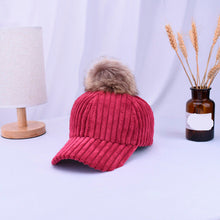 Load image into Gallery viewer, 2018 New Unisex Solid Color Corduroy Winter Artificial Pompom Ball Baseball cap Adjustable Fashion Leisure Casual Snapback Hat