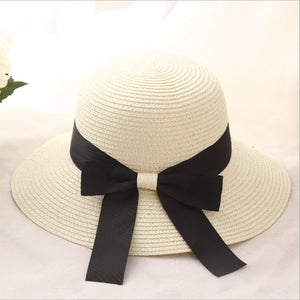 2018 New Women Wide Brim Floppy Summer Women s Sun Hat Black Bowknot Ribbon  Flanging Straw Hat 84184d3a1d5