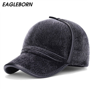 2018 New fashion Faux Fur baseball caps with earflaps men winter hats for men  hat snapback casquette bone suitable for 53-56cm f2353abc01f