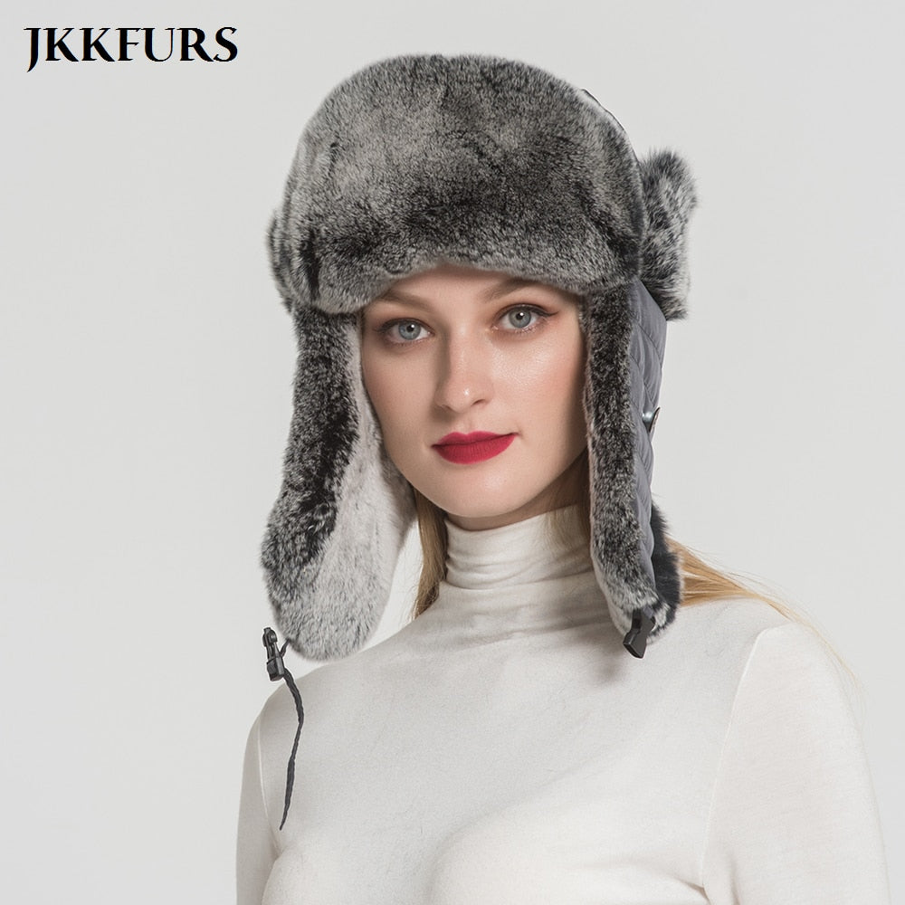 306e2d22823 Real rex rabbit fur bomber hats thick winter warm snow caps with earflap  for men women