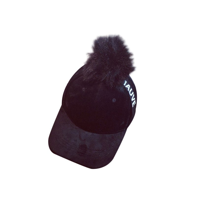 2018 Retro Vintage Hip Hop Ladies Faux Fur Pom Pom Ball Baseball Caps For Women Dad Hats Gorras Knitted Trucker Cap Casquette