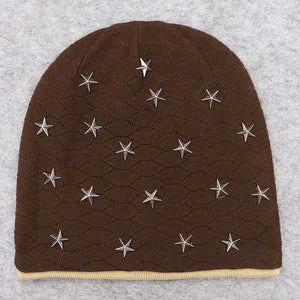 2020 Solid Unisex Metal Star Kullies Beanies Autumn Winter Acrylic Soft Warm Knitted Hat Men Women Skull Cap Hats Gorro Ski Caps