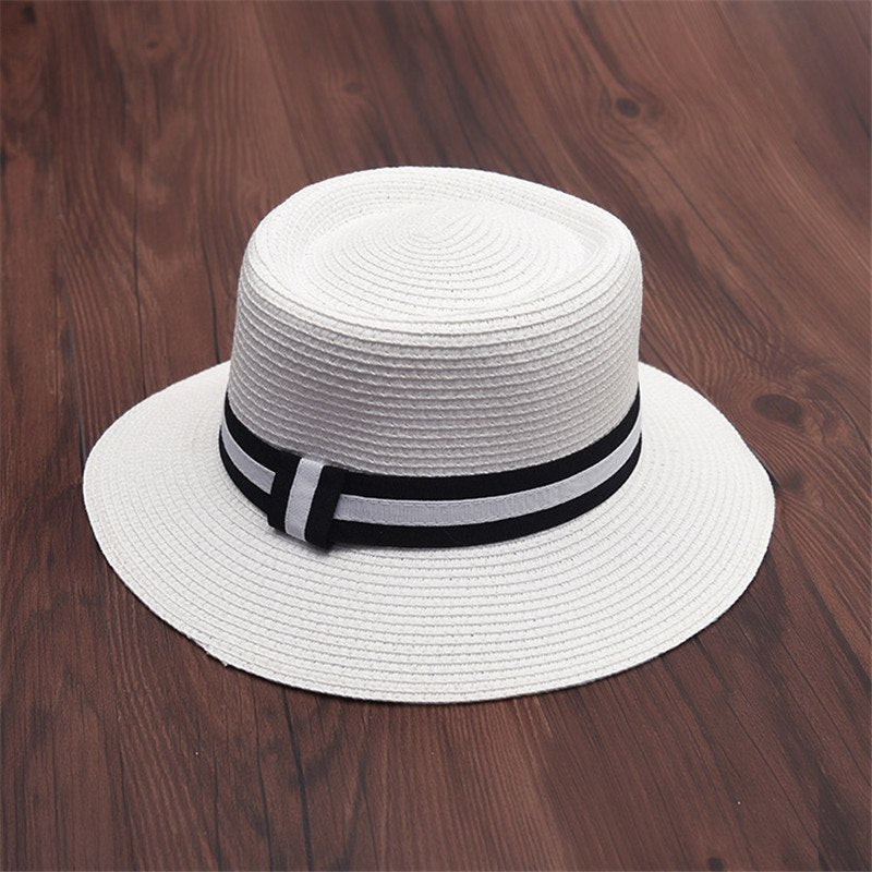 2018 Summer Autumn Black White Striped Straw Hat For Women Panamas Flat-Top Cap With Letter M Fedora Hat Lady Bowler Jazz Hat
