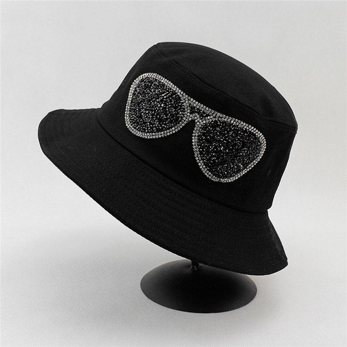2018 Summer New Diamonds Glasses Bucket Hats Men Women Hip Hop Panama Sunhat Fishing hat Floppy Bob Caps Women chapeau femme