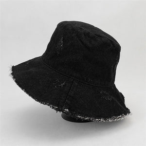 2018 Summer Washed Denim Wide Brim Foldable Sun Hat Men Women Tassel Floppy  Cap Anti- 2a36c0bbb0c7
