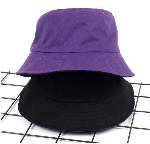 2018 Two Side Reversible Purple Bucket Hat Unisex Bob flat Caps Hip Hop GorrosPanama for man woman Beach Sun Fishing Bucket Hat