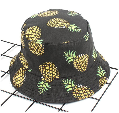 2020 Two Side Reversible pineapple Bucket Hat cap Bob Caps printed outdoor Men's panama Caps Beach Sun Fishing boonie Hat
