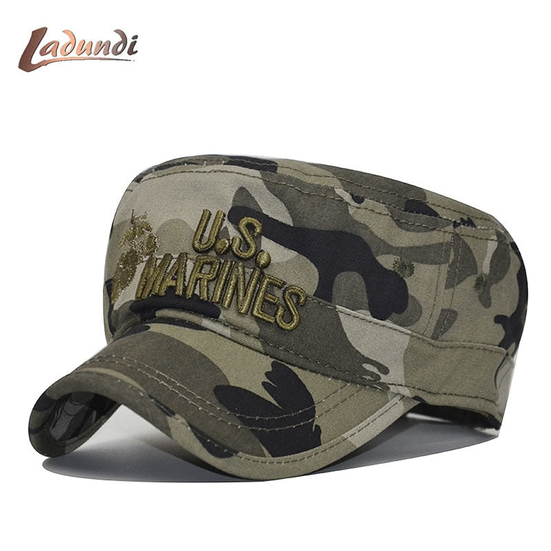 2020 United States US Marines Corps Cap Hat Military Hats Camouflage Flat Top Hat Men Cot hHat USA Navy Embroidered Camo Hat