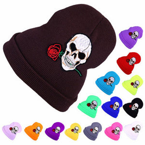 2020 Warm Wo Winter Hat Women Hats Girls Skull And Red Rose Cap Autu Winter Fashion Beanies Casual Knitted Caps