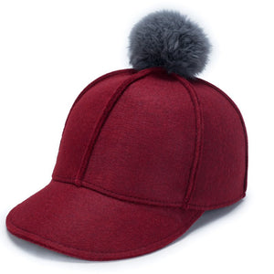 2020 Winter Cap For Women Pure Color Baseball Cap Woollen Baseball Hats Faux Fur Pompom Ball Cap Fitted Casual Snapback Hat