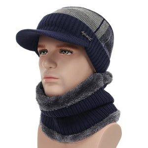 2018 Winter Hats For Men Skullies Beanie Hat Winter Cap Men Women Wo Scarf Caps Set Balaclava Mask Gorras Bonnet Knitted Hat