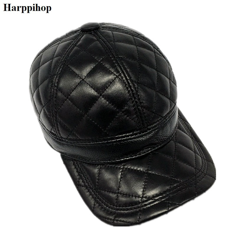 2018 Winter Male Genuine Leather  56-60CM Black/Brown Baseball Caps For Man Casual Street Glof Gorras Dad Hat H912-01