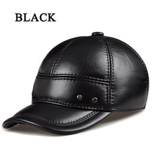 Load image into Gallery viewer, 2020 Winter Male Head Warm Genuine Leather Casual Adjustable Dome Baseball Caps Metal Buckle Hat For Man Black/Brown Chapeu RY05