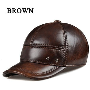 2020 Winter Male Head Warm Genuine Leather Casual Adjustable Dome Baseball Caps Metal Buckle Hat For Man Black/Brown Chapeu RY05